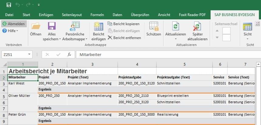 Berichte in Microsoft Excel