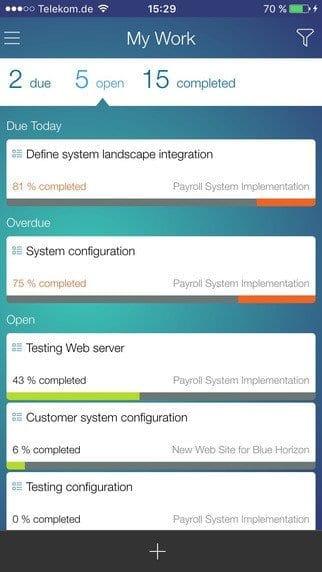 SAP Project To Go App Bild 2