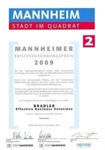 Zertifikat: Existenzgründerpreis 2009