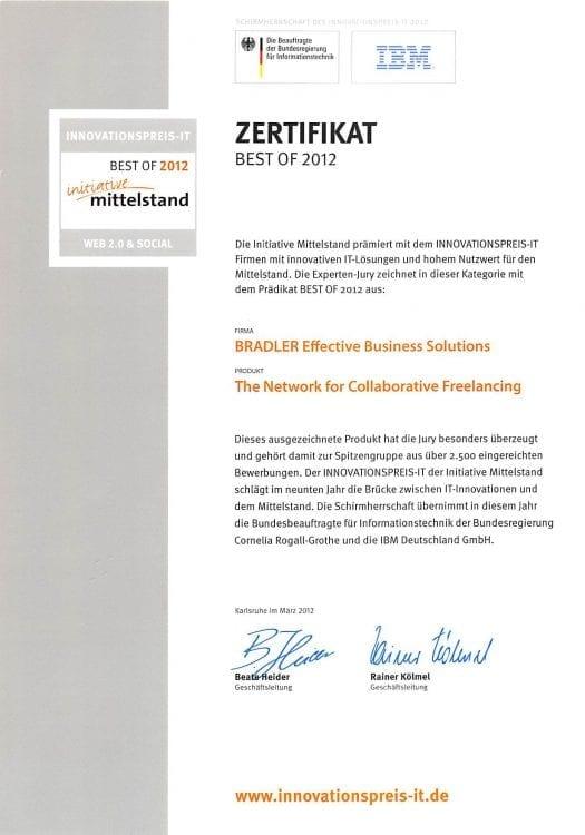Zertifikat: Initiative Mittelstand 2012