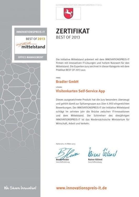 Zertifikat: Initiative Mittelstand 2013