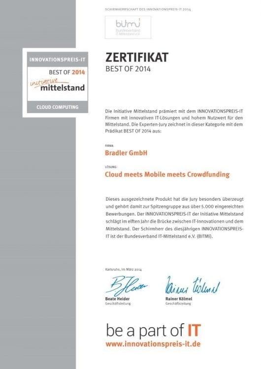Zertifikat: Initiative Mittelstand 2014