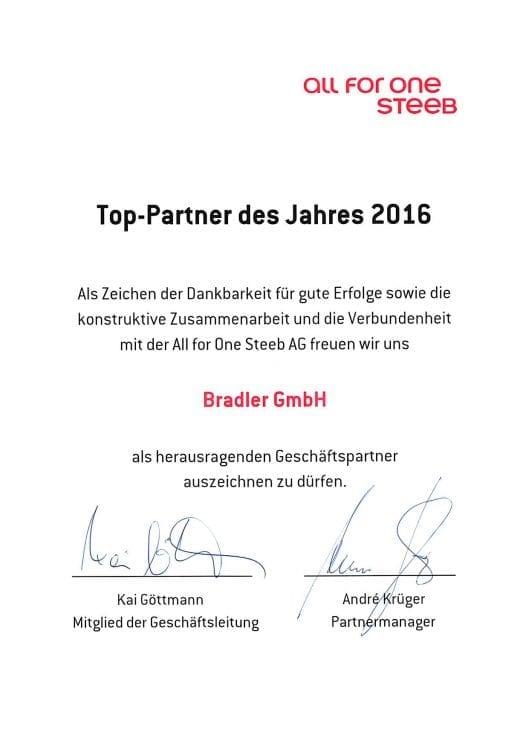 Zertifikat: Top Partner des Jahres 2015