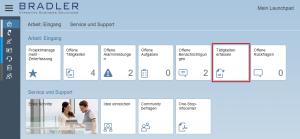Tätigkeiten erfassen auf SAP ByD Launchpad