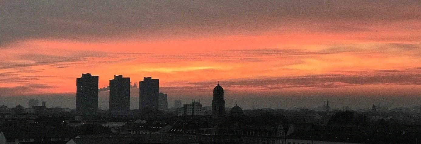 Sonnenuntergang aus unserem Büro in Mannheim Wohlgelegen