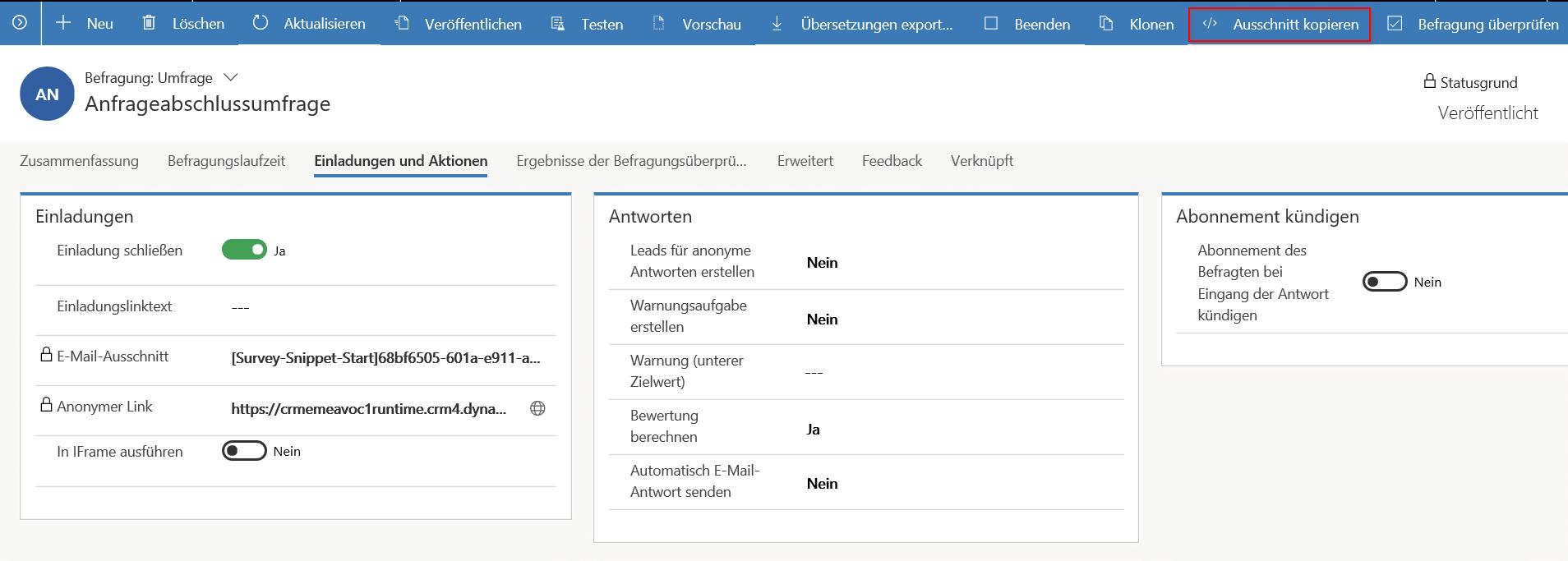 Dynamics 365 Stimme des Kunden - Workflow E-Mail Survey-Snippet einfügen