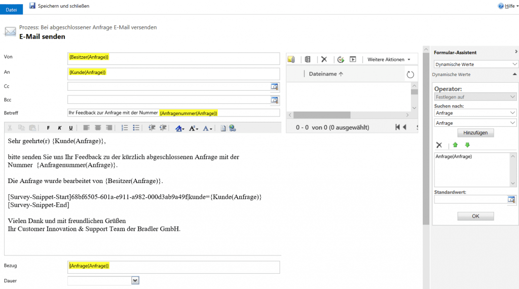 Dynamics 365 Stimme des Kunden - Workflow E-Mail Text