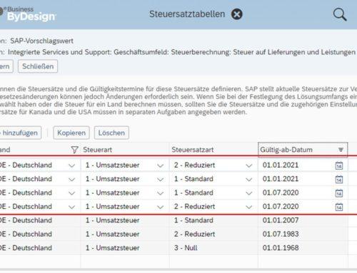 Mehrwertsteuersenkung auf 16% – das müssen Sie bei der Änderung in SAP Business ByDesign beachten