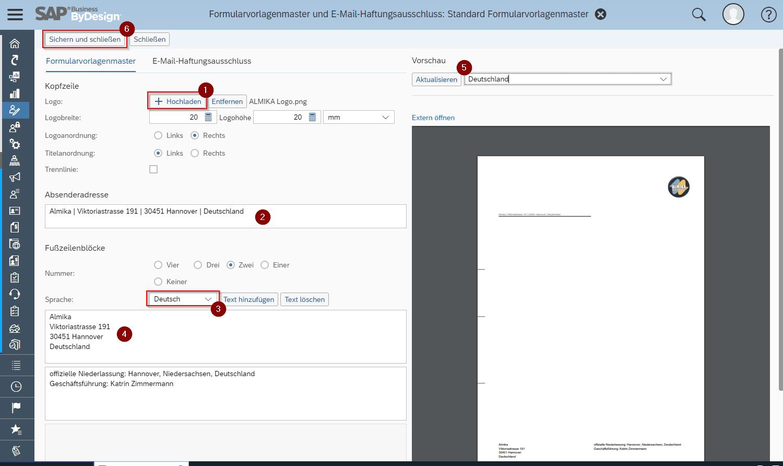 SAP Business ByDesign Formularvorlagenmaster erstellen