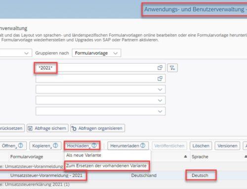 Neue Formulare für die Deutsche Umsatzsteuer-Voranmeldung 2021 in SAP Business ByDesign