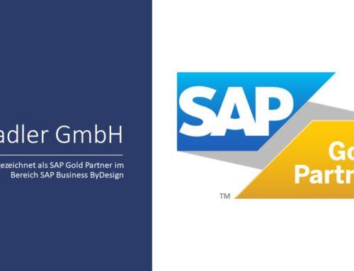 """SAP zeichnet die Bradler GmbH für ihre Leistungen im Bereich SAP Business ByDesign als """"SAP Gold Partner"""" aus"""